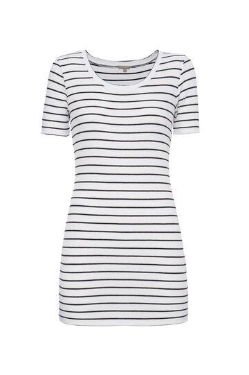 Smart Basic striped stretch T-shirt, White/Black, hi-res