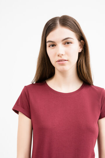 Solid colour T-shirt in 100% cotton, Dark Red, hi-res