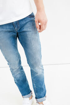 Slim-fit jeans with turned-up ankles, Medium Wash, hi-res