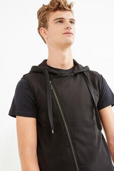 Sleeveless hoodie, Black, hi-res