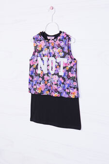 Floral T-shirt with printed lettering, Black, hi-res