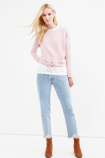 Solid colour girlfriend jeans with rips, Soft Blue, hi-res