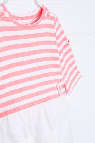 Striped, 100% cotton dress, White/Orange, hi-res