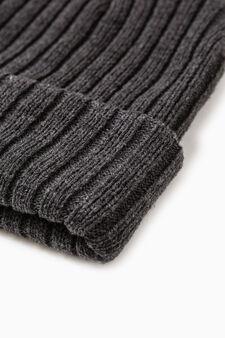 Ribbed beanie cap, Slate Grey, hi-res