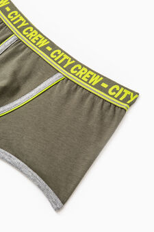 Stretch cotton boxer shorts with embroidery, Green, hi-res