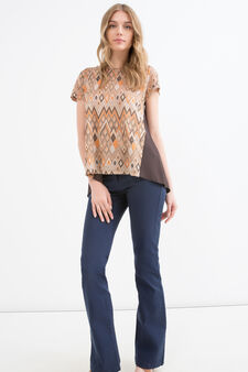 Stretch T-shirt with geometric pattern, Multicolour, hi-res