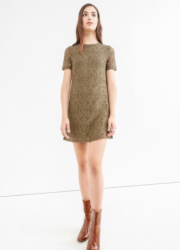 Solid colour stretch cotton lace dress | OVS