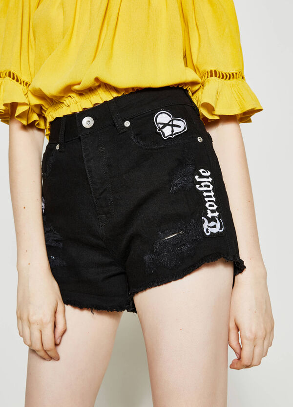 Denim shorts with patches | OVS