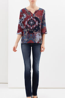 Stretch patterned blouse, Multicolour, hi-res