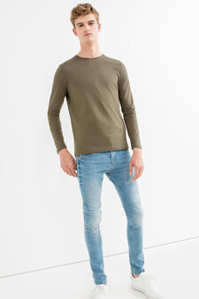 Long-sleeved 100% cotton T-shirt, Army Green, hi-res