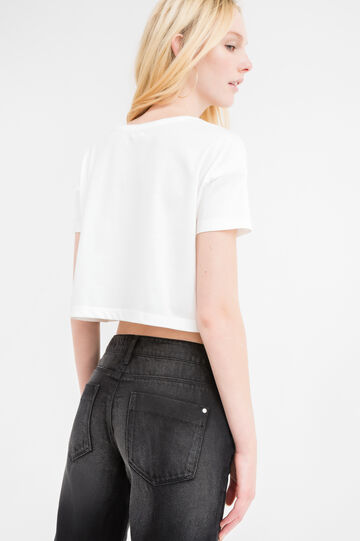 Cropped T-shirt in solid colour cotton blend, White, hi-res