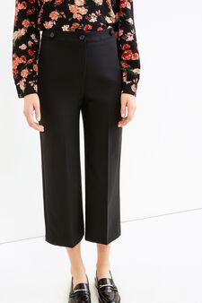 Pantaloni crop con piega, Nero, hi-res