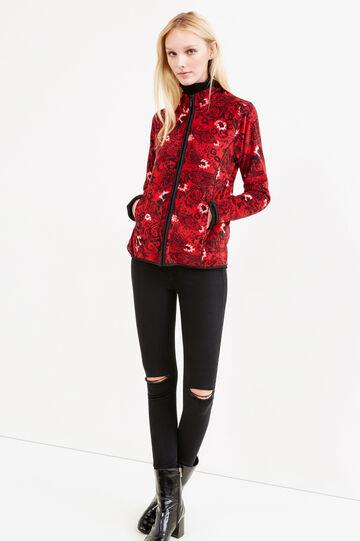 Fleece sweatshirt with contrasting trim, Multicolour, hi-res