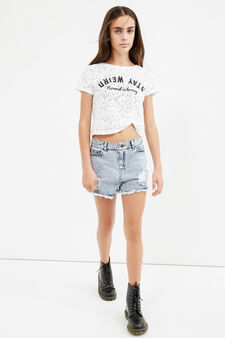 Teen crop T-shirt with lace and flower embroidery, White, hi-res