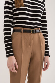 Pantaloni modello capri misto lino, Marrone tabacco chiaro, hi-res