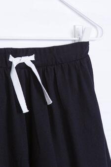 Gonna pantalone misto cotone, Nero, hi-res