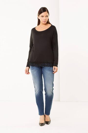 Curvy jeans with rhinestones, Medium Wash, hi-res