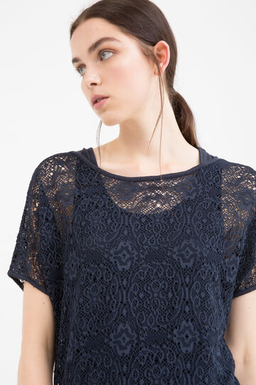 Solid colour stretch lace T-shirt