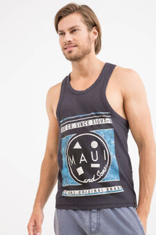 Cotton vest top by Maui and Sons, Dark Grey, hi-res