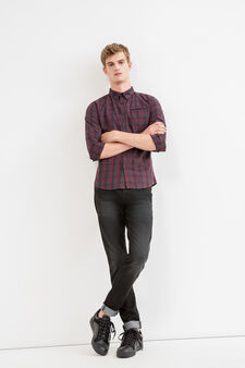 Slim-fit tartan cotton casual shirt, Grey/Red, hi-res