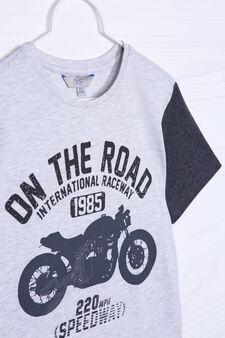 100% cotton T-shirt with print, Grey Marl, hi-res