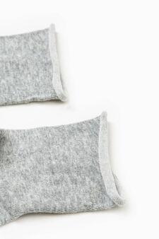 Solid colour cotton short socks, Grey Marl, hi-res