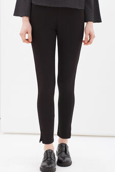 Stretch cotton leggings with splits, Black, hi-res