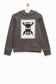 Cotton sweatshirt with The Simpsons patch, Slate Grey, hi-res