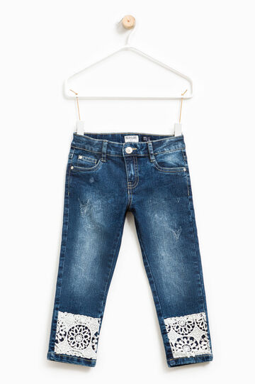 Used-effect stretch jeans with lace, Denim, hi-res