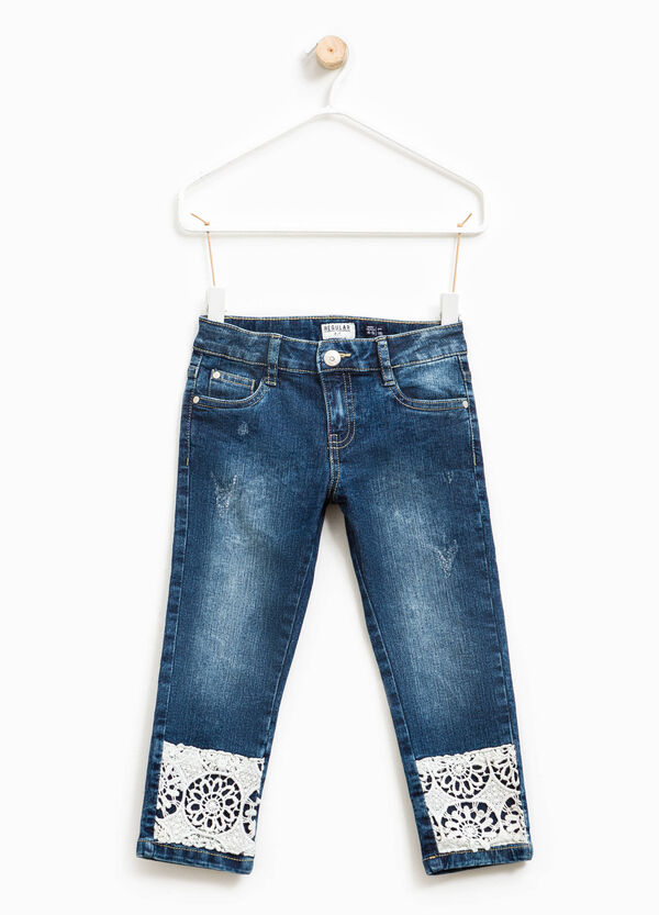 Used-effect stretch jeans with lace | OVS