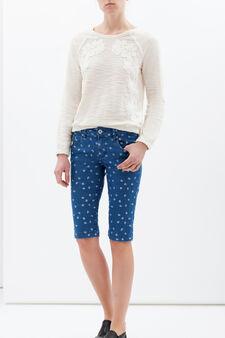 Denim Bermuda shorts with print, Soft Blue, hi-res