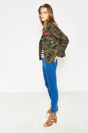Pantaloni in cotone stretch con strappi, Blu royal, hi-res