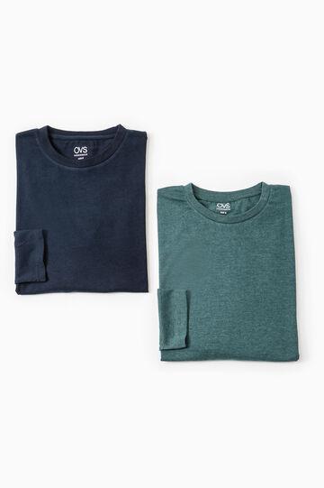 Set due t-shirt intime puro cotone, Blu/Verde, hi-res