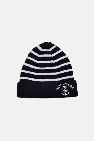 Striped beanie, Navy Blue, hi-res