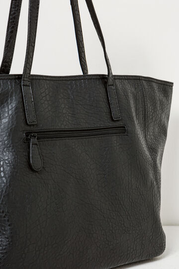 Hammered-effect shoulder bag, Black, hi-res