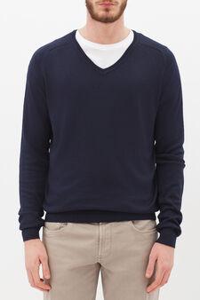 V-neck pullover, Navy Blue, hi-res