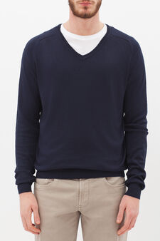 Pullover con scollo a V, Blu navy, hi-res