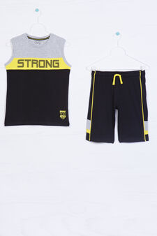 100% cotton outfit with printed lettering, Black/Yellow, hi-res