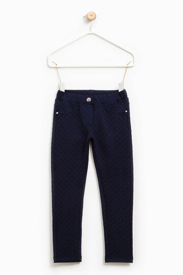 Cotton trousers with raised weave, Blue, hi-res