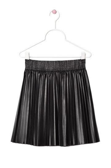 Plain leather look skirt., Black, hi-res