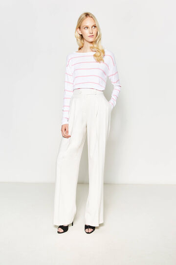 Pullover in viscose with stripes, White/Pink, hi-res