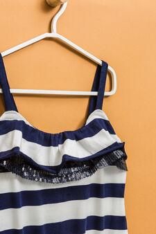 Jumpsuit in striped stretch cotton, White/Blue, hi-res