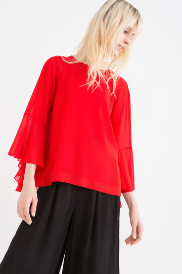 Solid colour blouse with rear vent., Red, hi-res