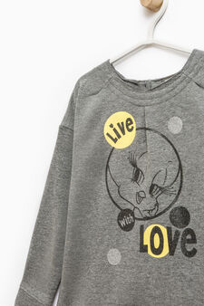 Stretch cotton tracksuit with Tweetie Pie print, Black/Grey, hi-res
