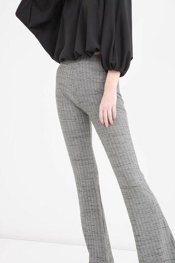 Flared viscose blend trousers, Grey Marl, hi-res