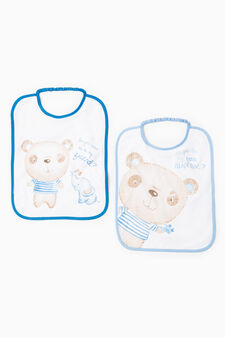 Two-pack printed bibs, White/Light Blue, hi-res