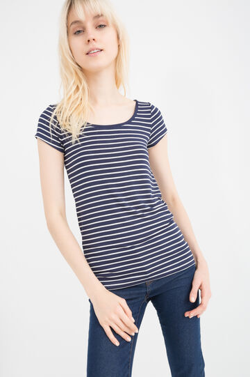Stretch striped viscose T-shirt, Navy Blue, hi-res