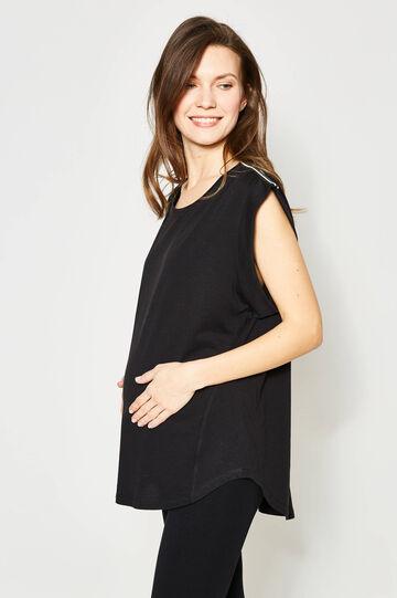 MUM T-shirt with cap sleeves, Black, hi-res