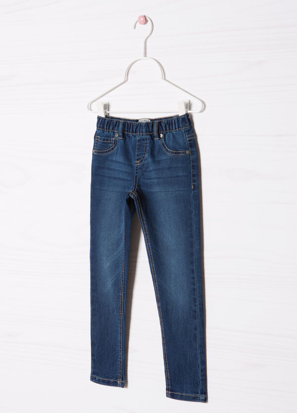 Faded cotton blend jeggings | OVS