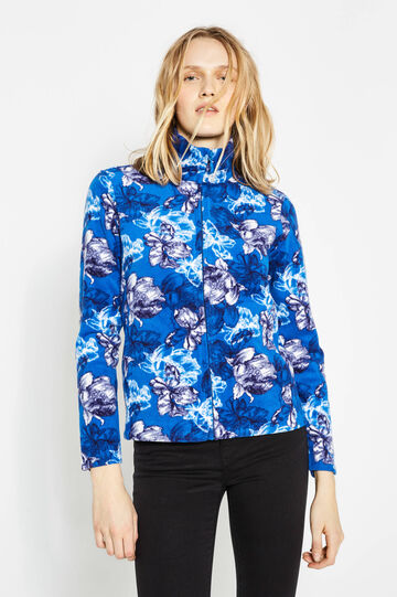 Fleece sweatshirt with high neck and floral pattern, Blue/Light Blue, hi-res